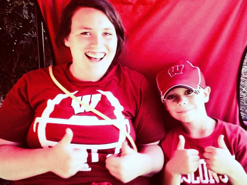 Mykenzie and her brother doin' what they do best, cheering on the Badgers!