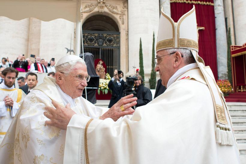 Via NBC News: http://www.nbcnews.com/storyline/new-saints/pope-benedict-attends-canonization-embraces-francis-n90661